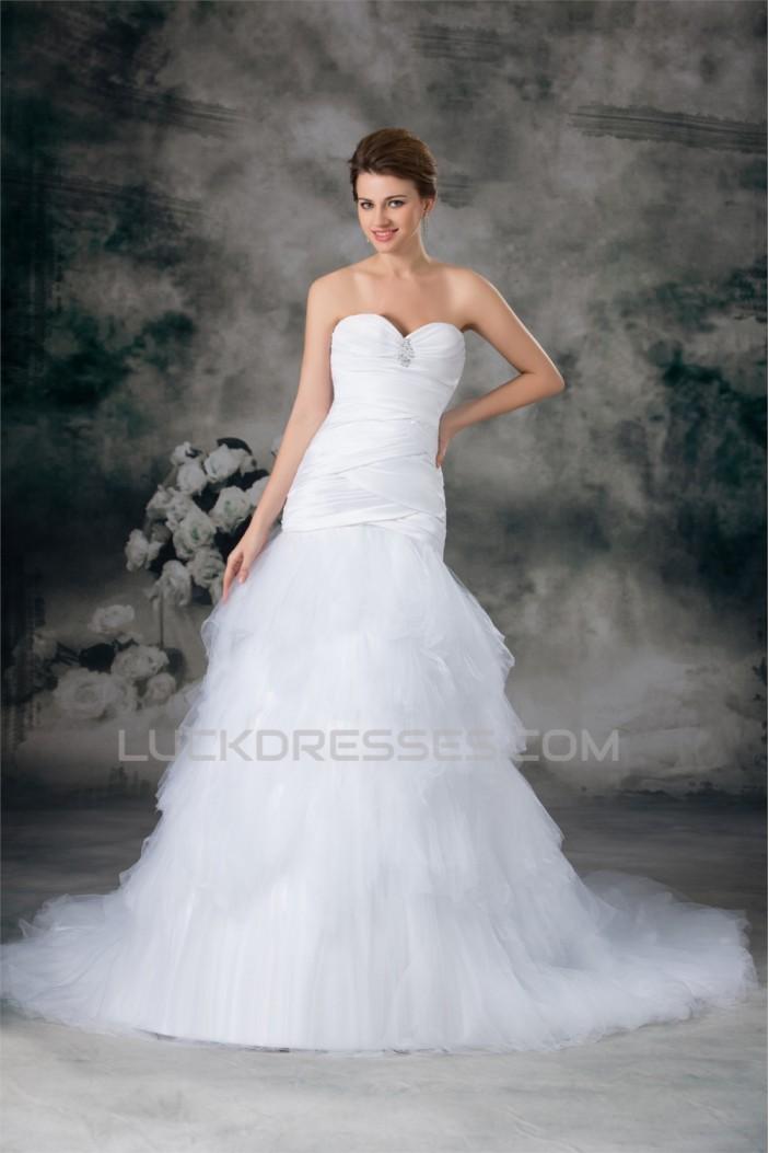 Sweetheart Satin Fine Netting Sleeveless Wedding Dresses 2031384