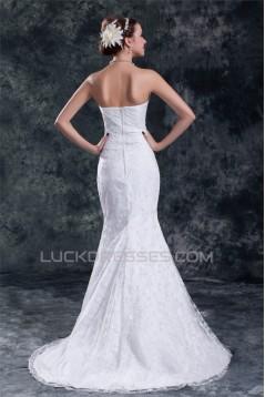 Sweetheart Satin Lace Mermaid/Trumpet Embellished Wedding Dresses 2031385
