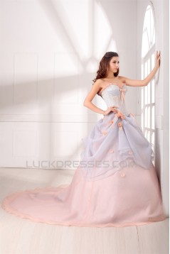 Sweetheart Satin Organza Sleeveless Ball Gown Wedding Dresses with Color 2031386