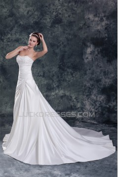 Sweetheart Satin Sleeveless A-Line Beautiful Wedding Dresses 2031387