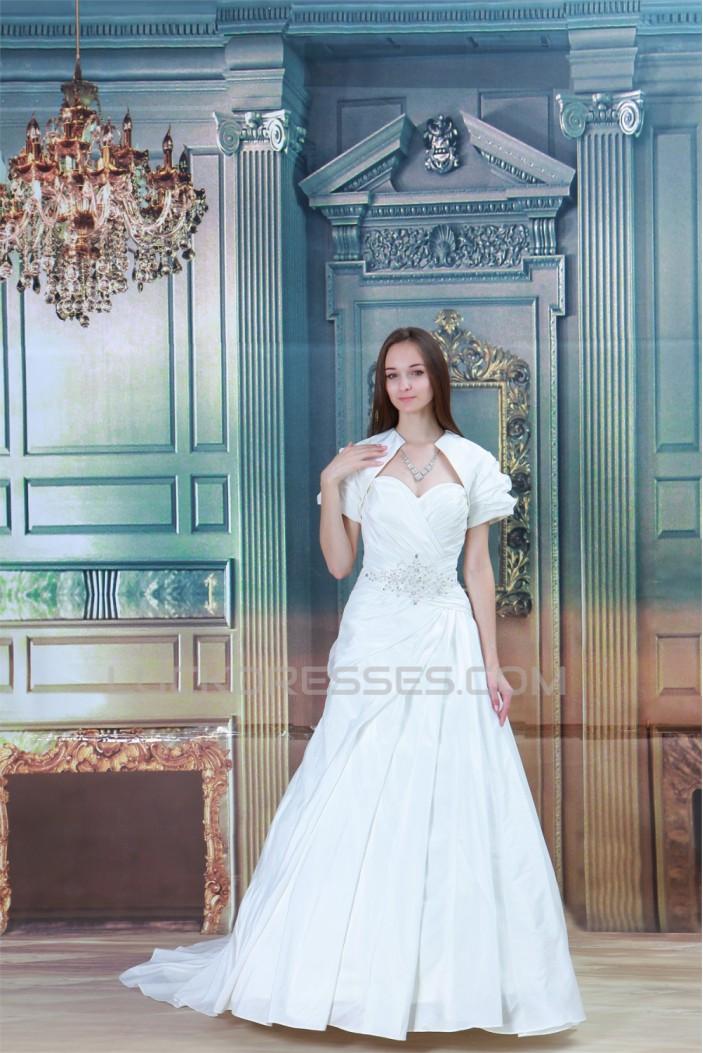 Sweetheart Sleeveless A-Line Satin Wedding Dresses with Jacket 2031390