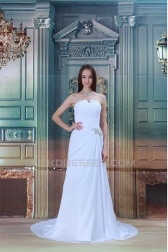 Sweetheart Sleeveless Chiffon Satin Sheath/Column Wedding Dresses 2031391