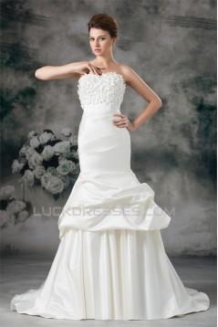 Sweetheart Sleeveless Satin Mermaid/Trumpet Wedding Dresses 2031394