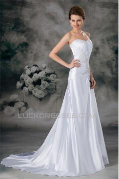 Sweetheart Sleeveless Sheath/Column Elastic Woven Satin Wedding Dresses 2031396