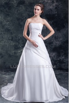 Taffeta A-Line Strapless Sleeveless Wedding Dresses 2031398