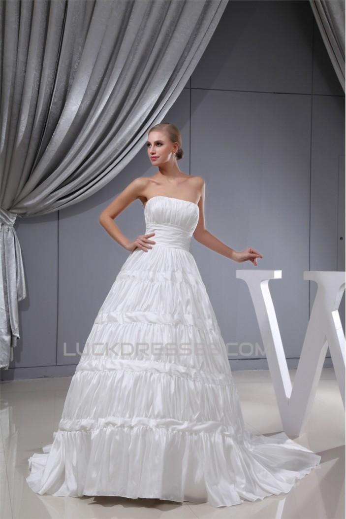 Fantastic Satin Taffeta Square A-Line Sleeveless Wedding Dresses 2030140