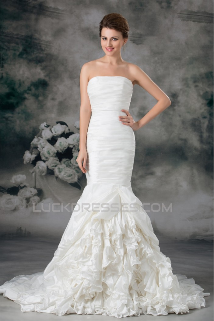 Taffeta Mermaid/Trumpet Strapless Sleeveless Embellished Wedding Dresses 2031400