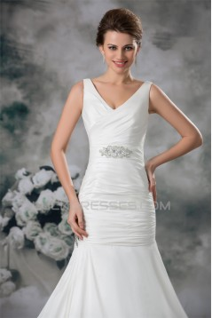 Taffeta Mermaid/Trumpet V-Neck Sleeveless Beaded Wedding Dresses 2031401