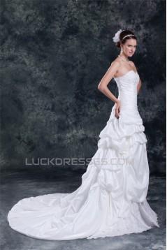 Taffeta Sleeveless A-Line Sweetheart Lace Wedding Dresses 2031402
