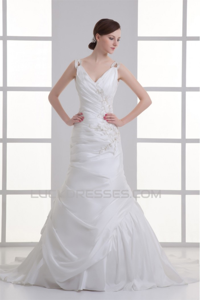 Taffeta Sleeveless Mermaid/Trumpet V-Neck Beaded Wedding Dresses 2031403