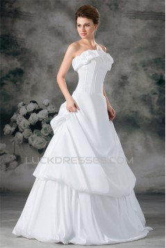 Taffeta Strapless Ball Gown Sleeveless New Arrival Wedding Dresses 2031404