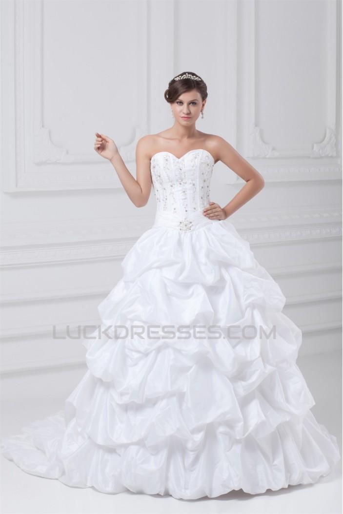 Taffeta Sweetheart Sleeveless Ball Gown Wedding Dresses 2031405