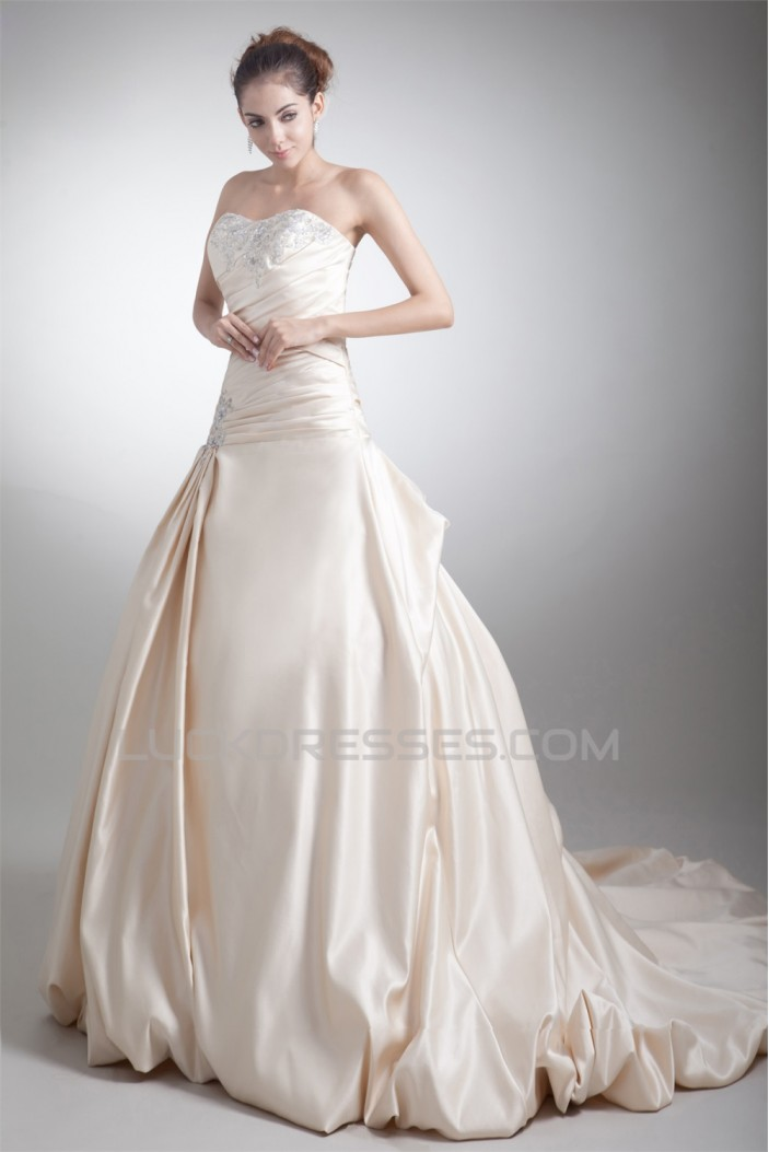 Unique Design A-Line Sleeveless Satin Sweetheart Wedding Dresses 2031406