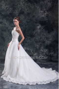 Unique Design A-Line Sleeveless Sweetheart Satin Sweet Wedding Dresses 2031407