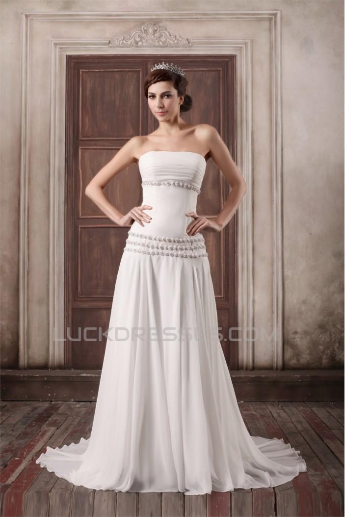 Unique Design Chiffon Elastic Woven Satin Strapless A-Line Wedding Dresses 2031408