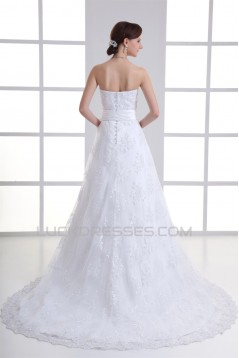 Unique Design Satin Lace A-Line Sweetheart Sleeveless Wedding Dresses 2031410
