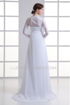 Empire V-Neck Chiffon Long Sleeve Sheath/Column Wedding Dresses Maternity Wedding Dresses 2031413