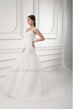 V-Neck Sleeveless A-Line Satin Fine Netting Lace Wedding Dresses 2031415