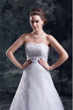 Wholesale A-Line Sleeveless Strapless Satin Organza Wedding Dresses 2031416