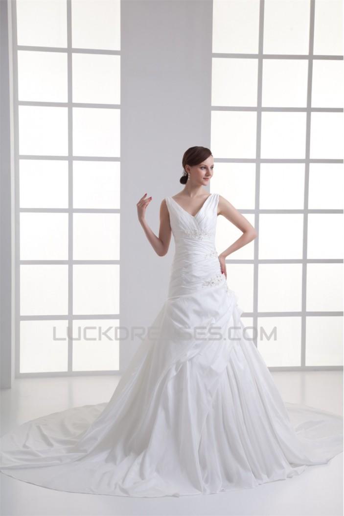 Wholesale Ball Gown Sleeveless V-Neck Taffeta Wedding Dresses 2031417