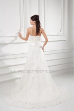 Wholesale Sheath/Column Satin Netting Sleeveless Lace Wedding Dresses 2031418