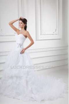Wholesale Sleeveless Satin Organza Sweetheart A-Line Wedding Dresses 2031419
