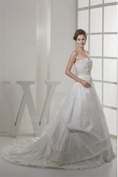 Fantastic Sleeveless A-Line Satin Taffeta Sweetheart Wedding Dresses 2030142