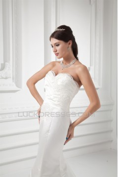 Wholesale Sweetheart Satin Sleeveless Mermaid/Trumpet Lace Wedding Dresses 2031421