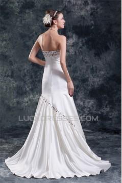 Wholesale Sweetheart Sleeveless Satin A-Line Wedding Dresses 2031423