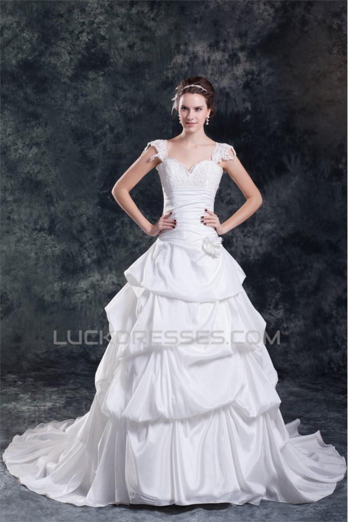 Wholesale Taffeta Straps Sleeveless A-Line Wedding Dresses 2031424