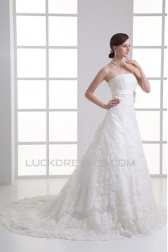 Wonderful A-Line Sleeveless Satin Lace Strapless Wedding Dresses 2031425