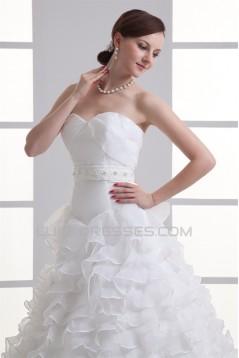 Wonderful Ball Gown Satin Organza Sleeveless Sweetheart Wedding Dresses 2031426