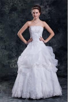 Wonderful Ball Gown Strapless Satin Organza Sleeveless Wedding Dresses 2031427