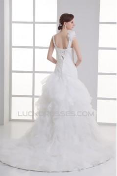 Wonderful Satin Organza Ball Gown Sleeveless V-Neck Wedding Dresses 2031429