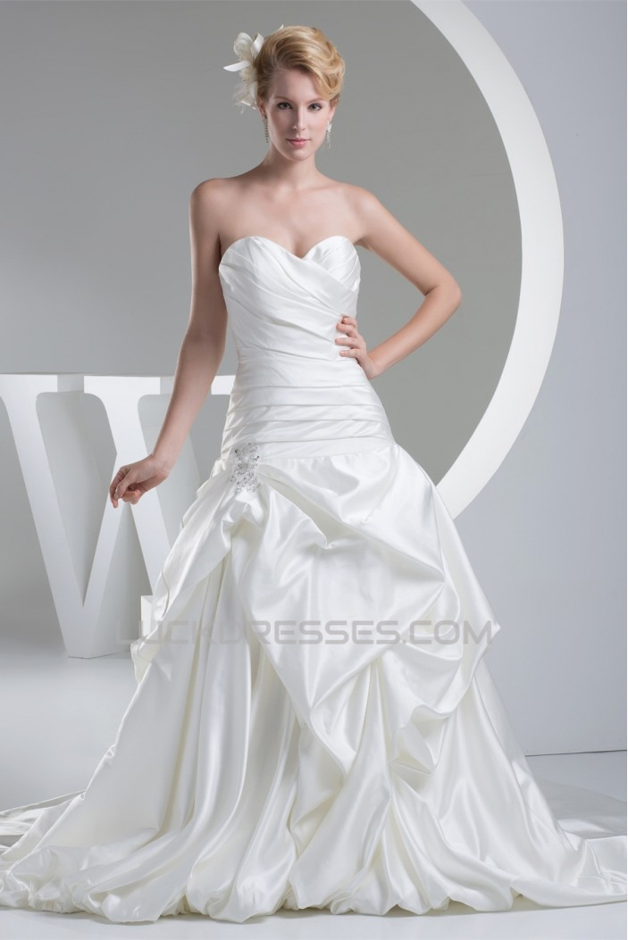 Fantastic Sleeveless Satin A-Line Sweetheart Wedding Dresses 2030143