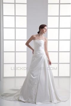Wonderful Sleeveless Satin Soft Sweetheart A-Line Wedding Dresses 2031430