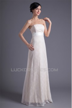 Wonderful Sleeveless Strapless Satin Lace A-Line Wedding Dresses 2031431