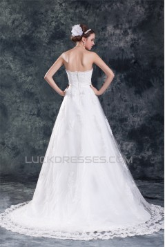 Wonderful Strapless A-Line Sleeveless Satin Net Wedding Dresses 2031432