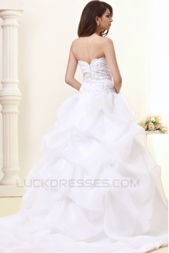 A-Line Strapless Court Train Wedding Dresses 2031435