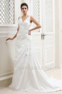 Sheath/Column V-Neck Beaded Applique Court Train Wedding Dresses 2031436