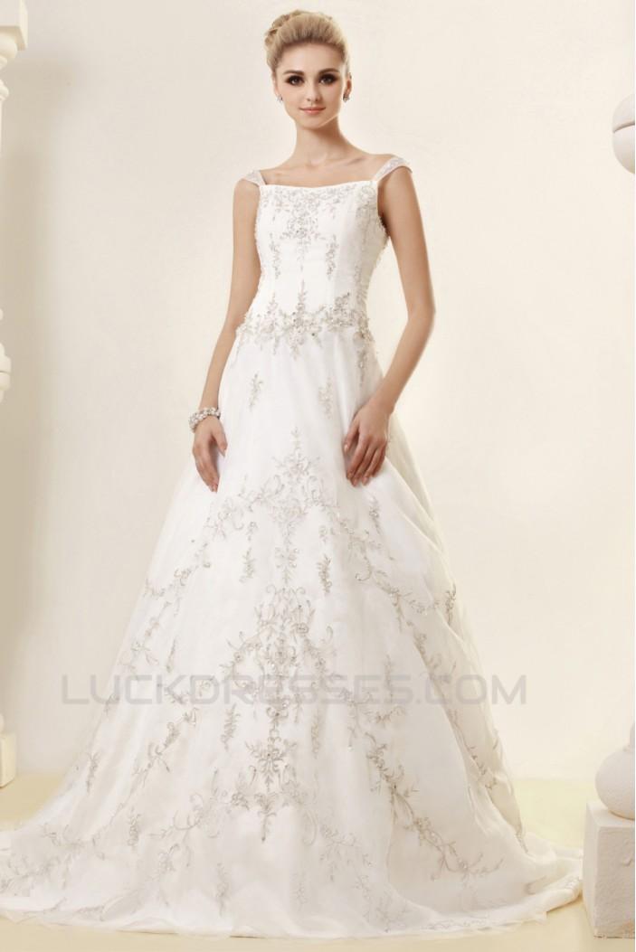 A-Line Straps Sleeveless Court Train Wedding Dresses 2031437