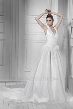 Elegant A-Line Halter Court Train Wedding Dresses 2031438