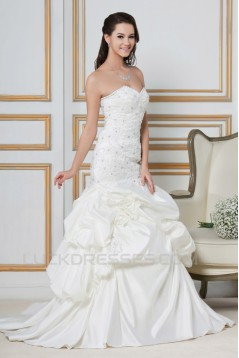 A-Line Sweetheart Court Train Beaded Lace Wedding Dresses 2031439