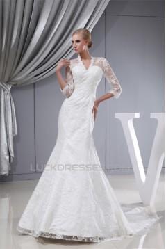 Fantastic Straps A-Line Satin Lace Long Sleeve Wedding Dresses 2030144
