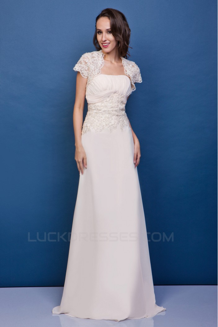 Sheath/Column Strapless Court Train Lace Wedding Dresses with Jacket 2031440