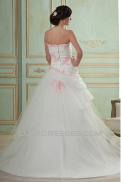 A-Line Strapless Court Train Lace Tulle Wedding Dresses 2031441