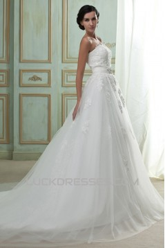 A-Line Strapless Court Train Beaded Lace Wedding Dresses with Lace Jacket 2031442