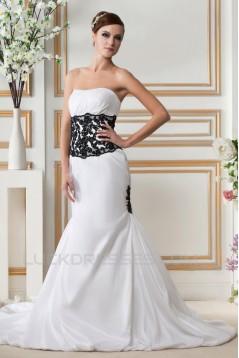 Trumpet/Mermaid Strapless Court Train Black White Wedding Dresses 2031443