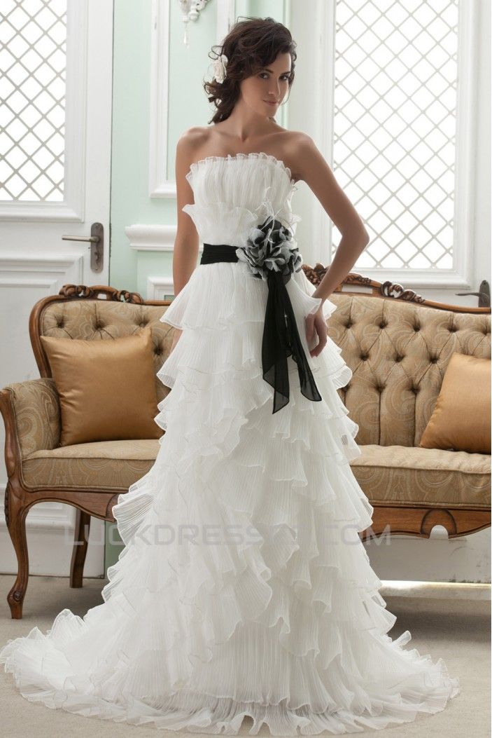 A-Line Strapless Court Train Wedding Dresses 2031444