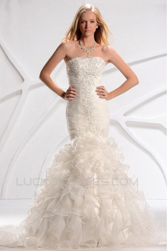 Trumpet/Mermaid Strapless Court Train Beaded Lace Wedding Dresses 2031446